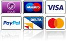 Maestro, Visa, Paypal, Delta, MasterCard